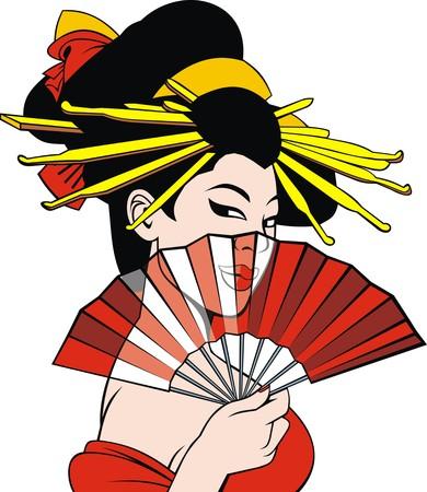 yukata: geisha dream girl isolated on the white background Illustration