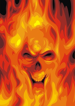 devil's bones: human skull in the fire as hell background