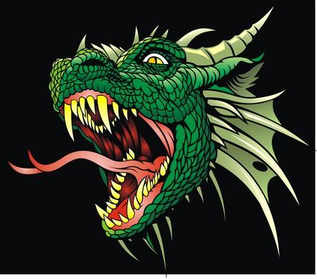 cabeza de dragón aislado en el fondo negro Ilustración de vector