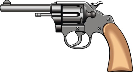 antique pistols: old hand gun (pistol) isolated on the white background Illustration