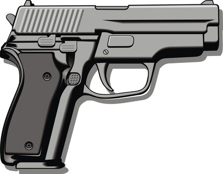 modern hand gun (pistol) isolated on the white background