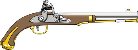 hand gun: old hand gun (pistol) isolated on the white background Illustration