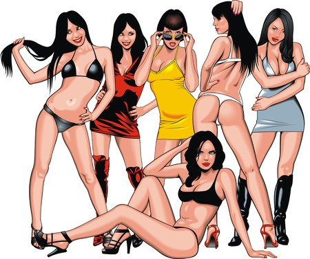 sexy girls: sexy girls from my fantasies isolated on the white background Illustration