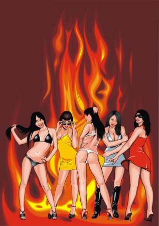 hairy girl: sexy girls from my dream on the fire background