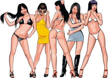 hairy girl: sexy girls from my fantasies isolated on the white background Illustration