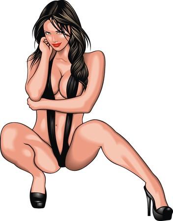 sexy nackte frau: nettes Mädchen aus meinem Traum auf dem weißen Hintergrund
