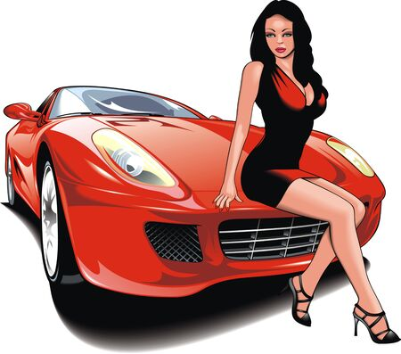 nice girl and my original design car isolated on the white background