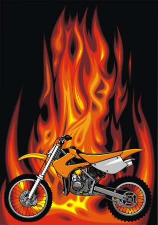 throttle: my original motorbike with fire flames background Illustration