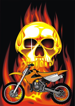 throttle: human skull and my original motorbike design in the fire Illustration