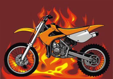 large skull: my original motorbike with fire flames background Illustration