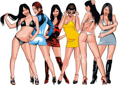 sexy girls from my fantasies isolated on the white background Illustration