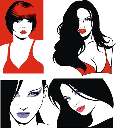 nice girls: girls from my dream as nice face collection Illustration