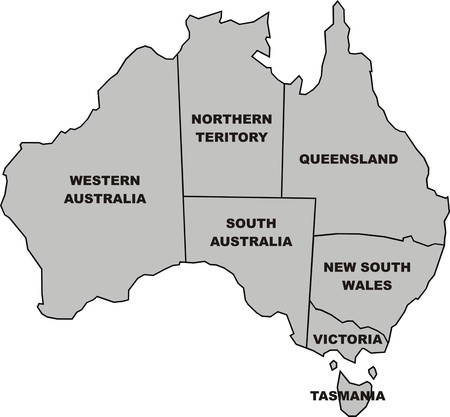 queensland: map of australia isolated on the white background