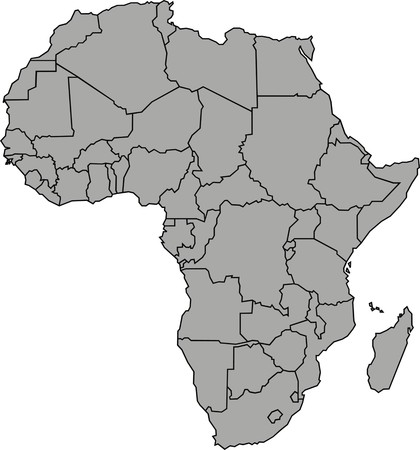 illustrated globes: map of africa isolated on the white background