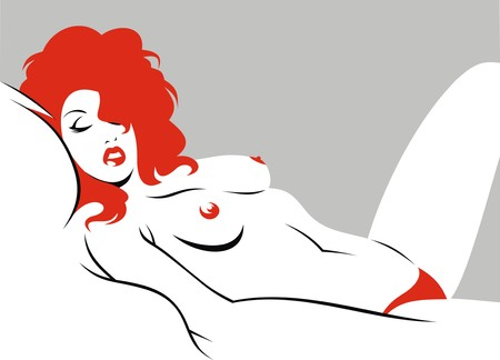 hairy girl: sexy woman from my dream in red Illustration