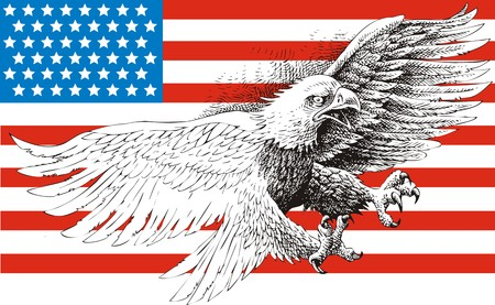 cross hatched: american eagle and flag isolated on the white background Illustration