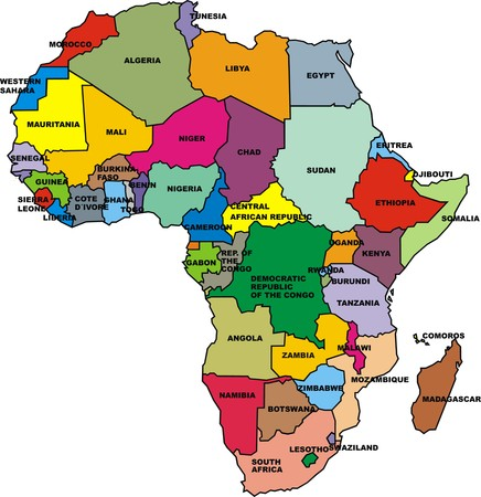map of africa isolated on the white background