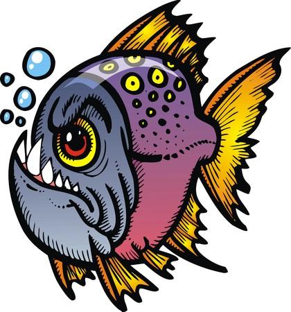 danger piranha fish isolated on the white background