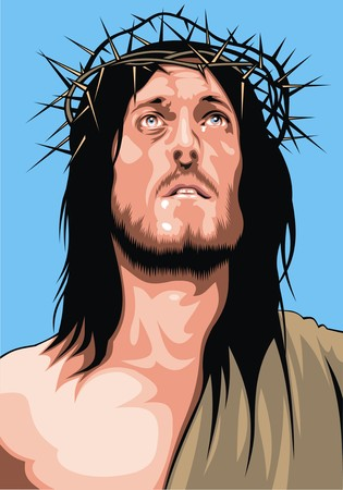 jesus christ from my dream on the blue background Illustration