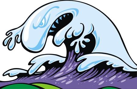 tsunami wave: bad tsunami wave isolated on the white background Illustration