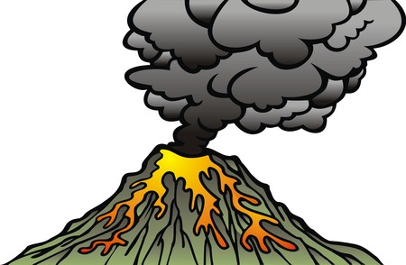 active volcano: active volcano isolated on the white background Illustration