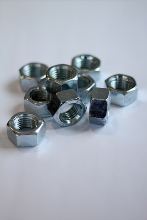 Steel nuts Stock Photo