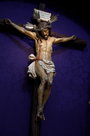 jesus on the cross: Christ XVII century old image Stock Photo