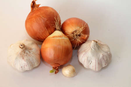 Onions and garlic Stock Photo