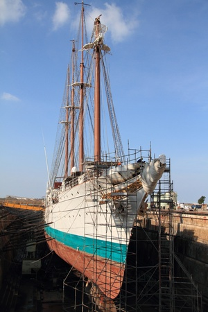 Training ship Juan Sebastian Elcano in dry dock