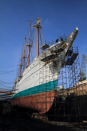 Ship Juan Sebastian Elcano in repair, Spain