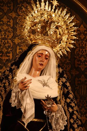 holy week in seville: Crowned Virgin Valley, Seville Stock Photo