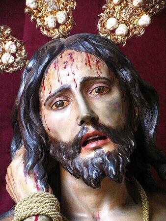 paciencia: Cristo Humildad y Paciencia, del siglo XVII, Chiclana de la Frontera, Espa�a Foto de archivo