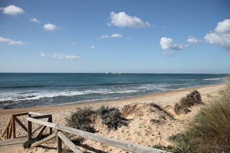 Beaches facing the castle of Sancti Petri Stock Photo