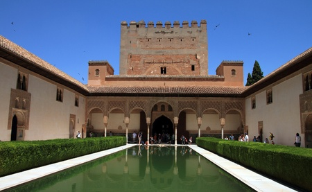 Patio of myrtles Alhambra in Granada