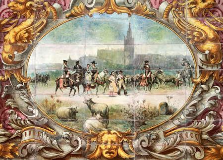 retablo: Sevilla, Plaza de Espa�a de cer�mica retablo