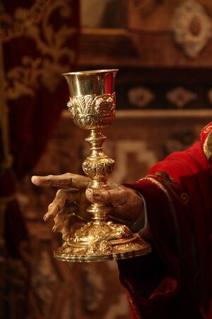 Chalice in the hand of Jesus, Holy Week in Jerez Stock Photo - 12972467