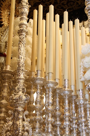 A throne processional candles, Holy Week in Jerez Editorial
