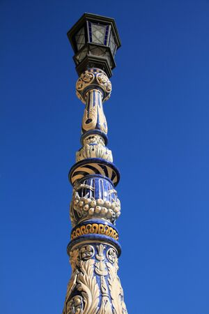 Detail of lamp standing in ceramic, Sevilla, Spain