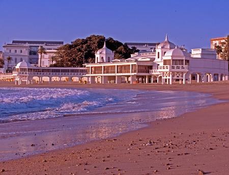 Sunset on the beach of La Caleta in Cadiz