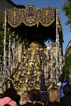Embroidered Mantle of the Virgin of the Star, Easter Jerez Stock Photo