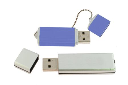 silver and blue flash memory isolated on white background