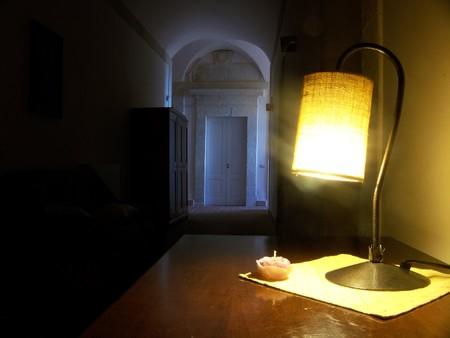 penumbra: Soft light old monastery Stock Photo
