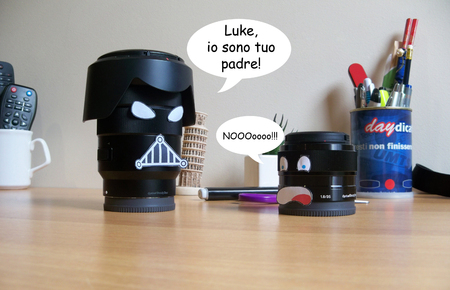 tribute: Camera lenses with  funny faces Italian version