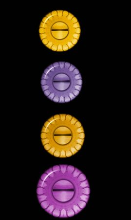 arise: four logobuttons avatars or background sunset