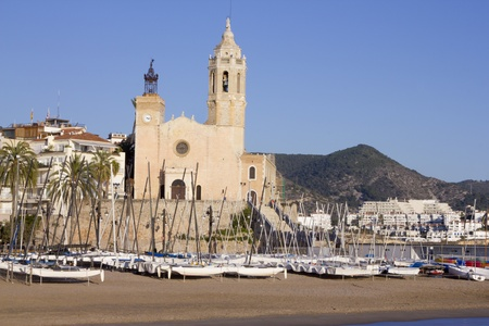 The church of Sant Bertomeu and Santa Tecla is the one of the most popular landmarks of Sitges. (Barcelona, Spain) Stock Photo