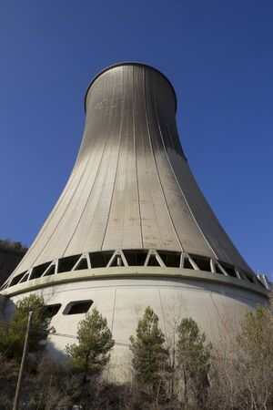 fossil fuels: Chimney of a Cercs Geothermal power station in Berguedà, Catalonia (Spain), which produces electricity from fossil fuels
