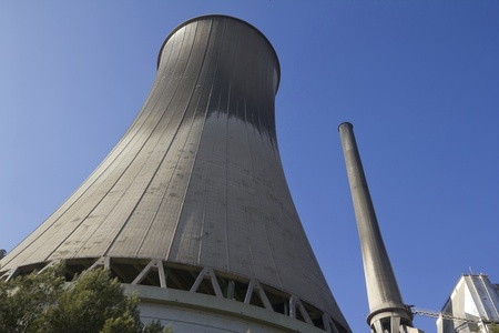 fossil fuels: Chimney of a Cercs Geothermal power station in Bergued, Catalonia (Spain), which produces electricity from fossil fuels