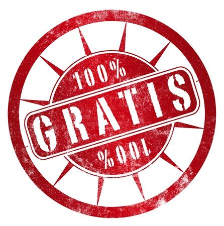 spanish language: Free 100% grunge stamp, in spanish language Stock Photo