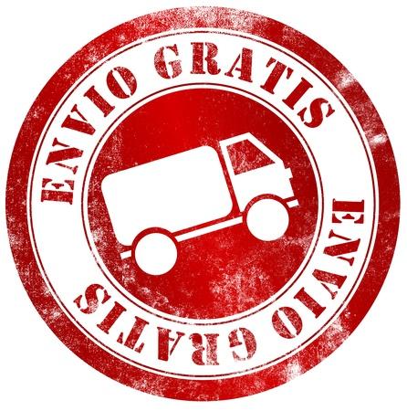 free shipping grunge stamp, in spanish language Stock Photo