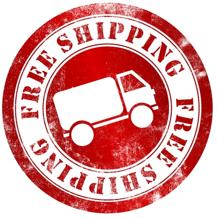 mail delivery: free shipping grunge stamp, in english language